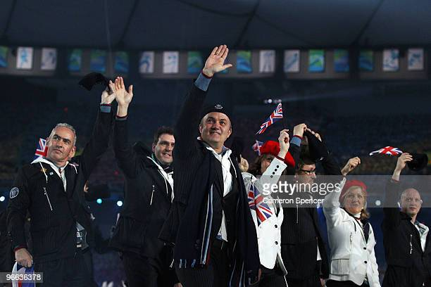 Great Britain and Northern Ireland team enter the stadium during the Opening Ceremony of the 2010 Vancouver Winter Olympics at BC Place on February...
