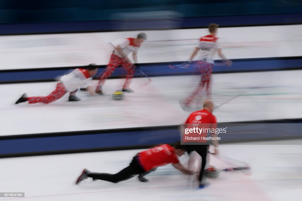 Great Britain (near) and Norway in action during the Men's Curling round robin matches on day 12 of the Pyeongchang 2018 Winter Olympics at Gangneung Curling Centre on February 21, 2018 in Gangneung, South Korea.