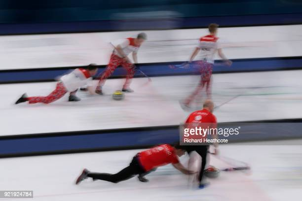 Great Britain and Norway in action during the Men's Curling round robin matches on day 12 of the Pyeongchang 2018 Winter Olympics at Gangneung...