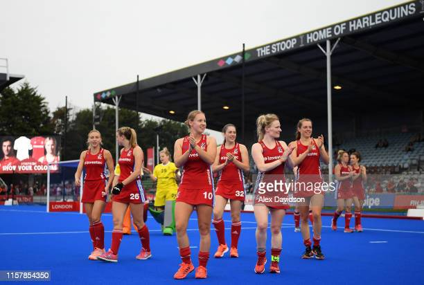Great Britain applaud the crowd during the Women's FIH Field Hockey Pro League match between Great Britain and New Zealand at Twickenham Stoop on...