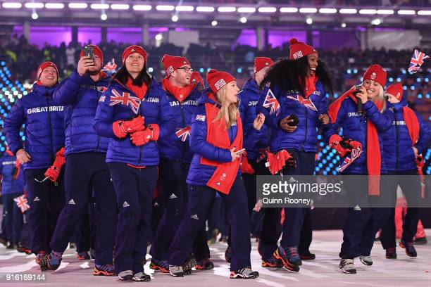 Great Britain athletes enter during the Opening Ceremony of the PyeongChang 2018 Winter Olympic Games at PyeongChang Olympic Stadium on February 9,...