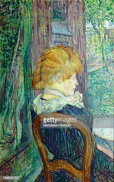 Great Britain Birmingham The Barber Institute of Fine Arts Whole artwork view A woman sitting at a table in front of the shoulders to a lush garden