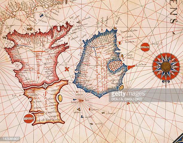 Great Britain by Giorgio Sideri taken from a nautical atlas 16th Century Plate