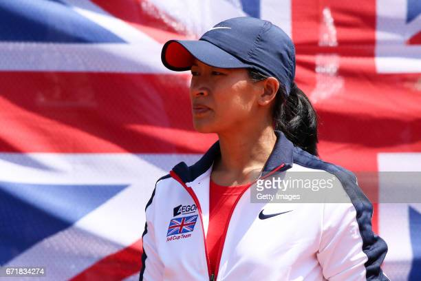 Great Britain captain Anne Keothavong looks on during day 2 of the Fed Cup World Group II Play Off between Romania and Great Britain on April 23 2017...