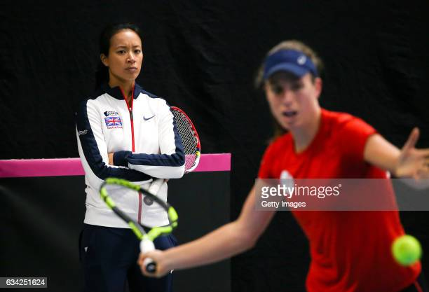 Great Britain captain Anne Keothavong watches as Johanna Konta of Great Britain trains prior to the Fed Cup Europe/Africa Group 1 Pool C matches...