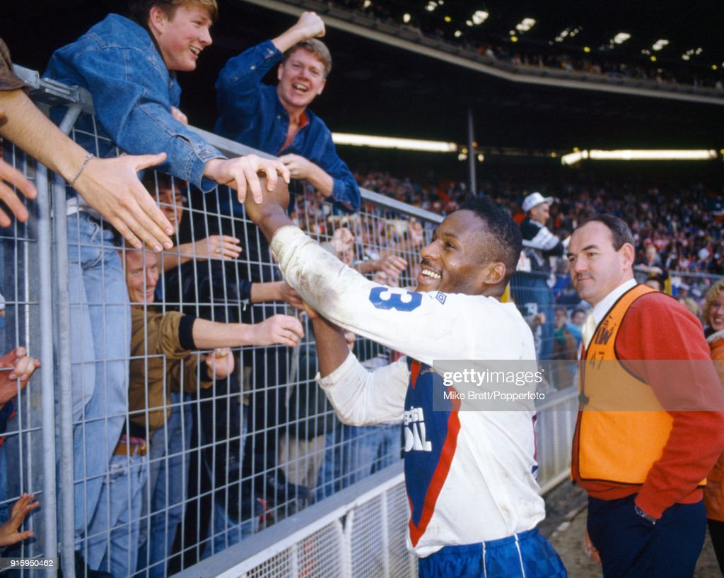Great Britain captain Ellery Hanley is congratulated by fans following their International rugby league victory over Australia at Wembley Stadium in London on 27th October 1990. Great Britain won 19-12.