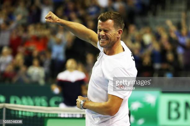 Great Britain captain Leon Smith celebrates as Dan Evans clinches victory over Dennis Istomin during Day One of The Davis Cup match between Great...