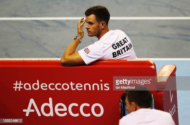 Great Britain captain Leon Smith is seen during the match between Cameron Norrie and Jurabek Karimov of Uzbekistan during day one of the Davis Cup by...
