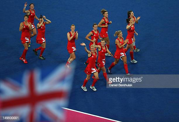 Great Britain celebrate at the end of the Women's Hockey Pool WA Match W05 between Great Britain and Japan at the Riverbank Arena on July 29 2012 in...