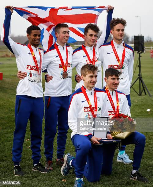 Great Britain celebrate their Bronze Medal during the U23 Men's award ceremony during the SPAR European Cross Country Championships on December 10...