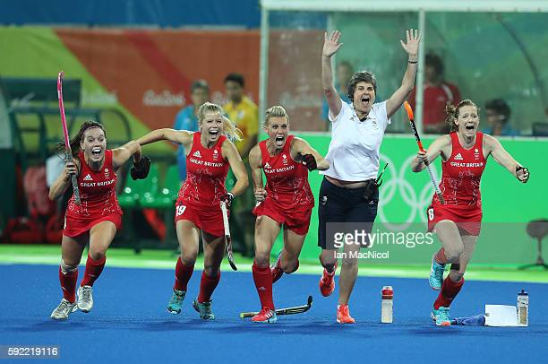 Great Britain celebrates after winning a penalty shoot outl during the Women's Hockey final between Great Britain and the Netherlands on day 14 at...