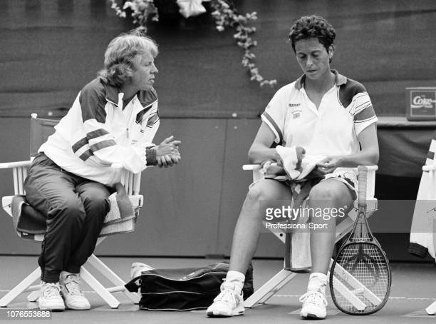 Great Britain coach Ann Jones talks to Jo Durie during her second round match against Sandra Cecchini of Italy in the Federation Cup at the...