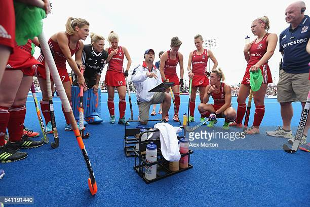 Great Britain coach Craig Keegan talks to his players at first break during the FIH Women's Hockey Champions Trophy match between Netherlands and...