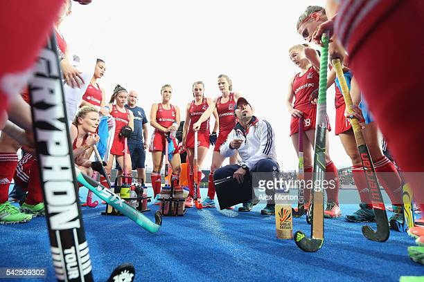 Great Britain coach Craig Keegan talks to his players at first break during the FIH Women's Hockey Champions Trophy match between Great Britain and...