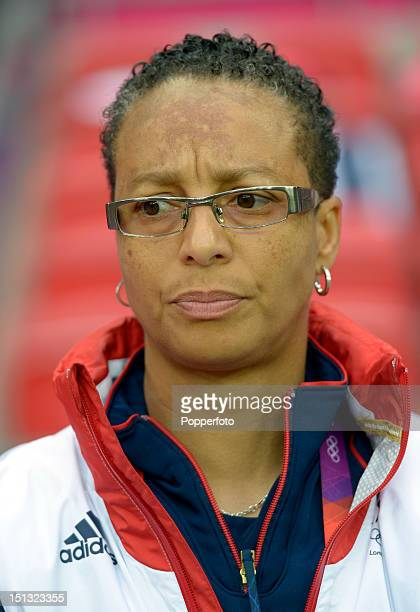 Great Britain coach Hope Powell before the Women's Football first round Group E Match between Great Britain and Brazil on Day 4 of the London 2012...