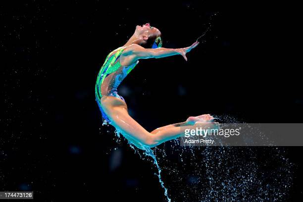 Great Britain compete during the Synchronized Swimming Team Free Final on day seven of the 15th FINA World Championships at Palau Sant Jordi on July...