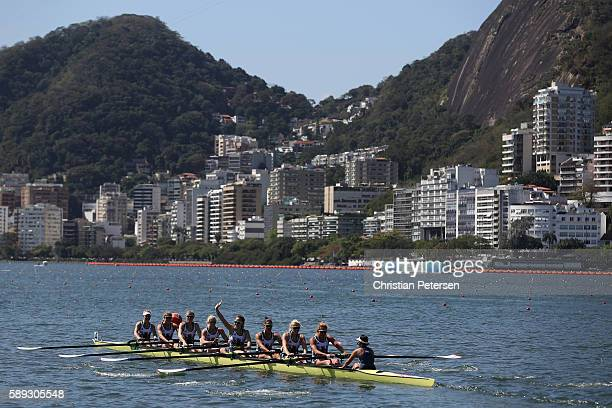 Great Britain compete during the Women's Eight on Day 8 of the Rio 2016 Olympic Games at the Lagoa Stadium on August 13 2016 in Rio de Janeiro Brazil