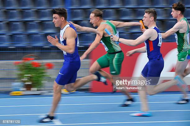 Great Britain compete in men's 100 metres relay during the IAAF World U20 Championships at the Zawisza Stadium on July 22 2016 in Bydgoszcz Poland