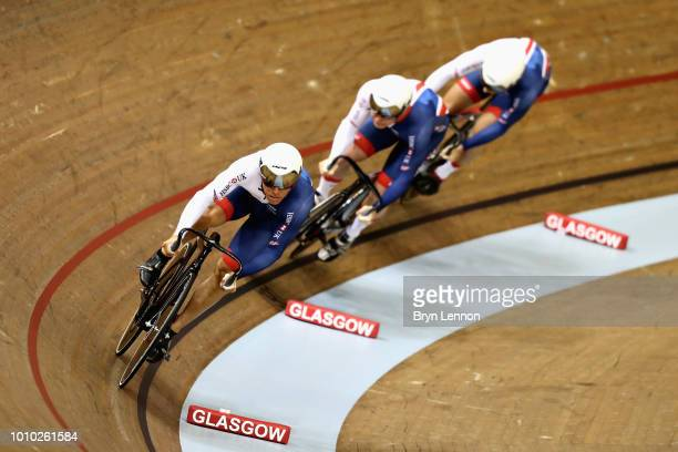 Great Britain competes in qualifying for the Mens Team Sprint during the track cycling on Day Two of the European Championships Glasgow 2018 at Sir...