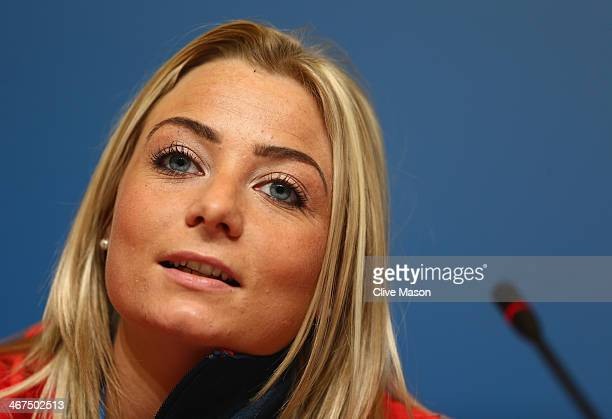 Great Britain curling team member Anna Sloan attends a press conference ahead of the Sochi 2014 Winter Olympics at the Main Press Center at on...
