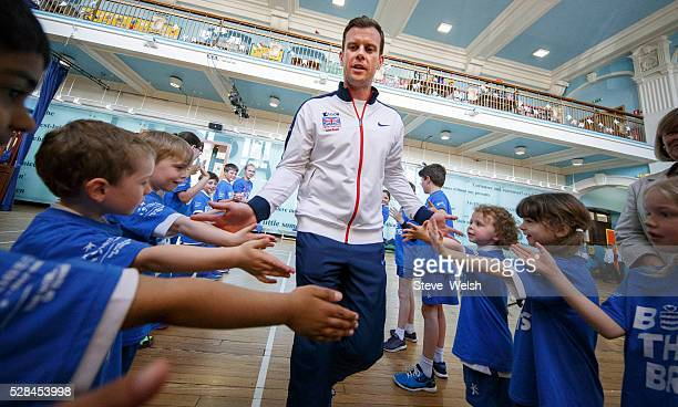 Great Britain Davis Cup Captain Leon Smith visits Hutchesons Grammar Primary School Glasgow as part of the Davis Cup Trophy Tour on May 5 2016 in...