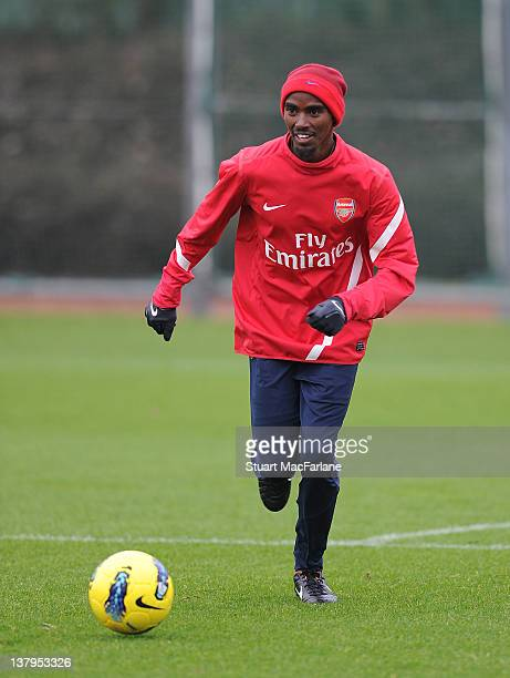 Great Britain distance runner Mo Farah during a training session with the Arsenal football team at London Colney on January 30, 2012 in St Albans,...