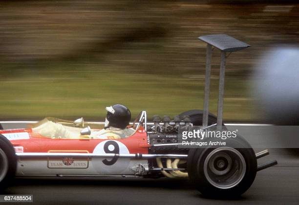 Great Britain driver Jackie Oliver driving a Lotus 49B in the British Grand Prix at Brands Hatch