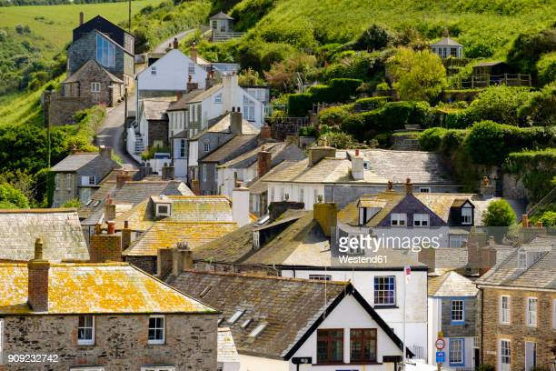 great britain, england, cornwall, port isaac, houses - port isaac stock pictures, royalty-free photos & images