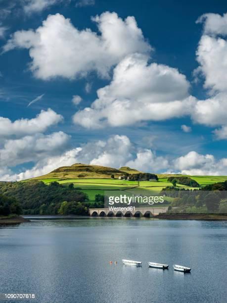 great britain, england, derbyshire, peak district, ladybower reservoir, derwent valley aqueduct - reservoir stock pictures, royalty-free photos & images