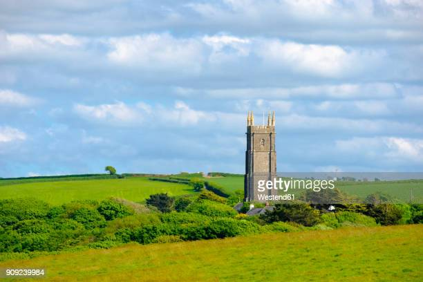 great britain, england, devon, hartland, church in stoke - spire stock pictures, royalty-free photos & images