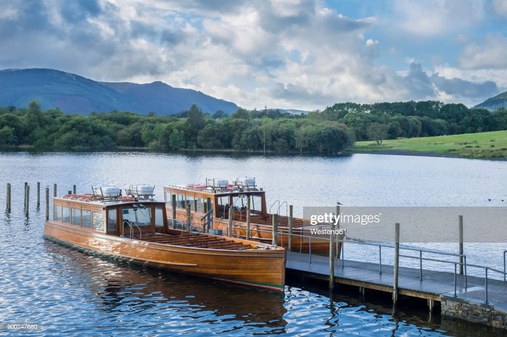 Great Britain, England, Lake District National Park, Keswick, lake, boats : Stock Photo