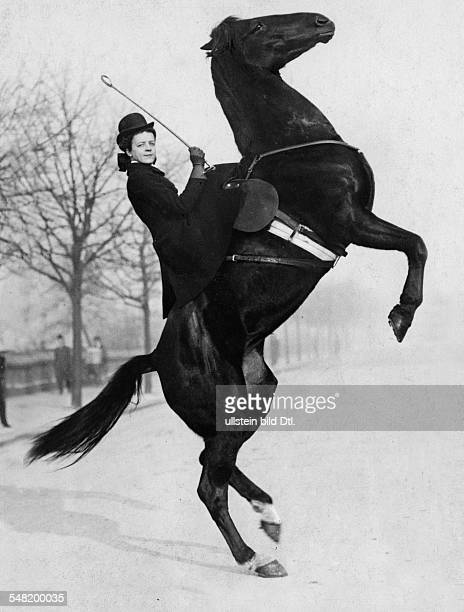 Great Britain England London: the American trick rider Mrs. Thompson on horseback in front of the Crystal Palace Park - 1908 - Photographer: Philipp...