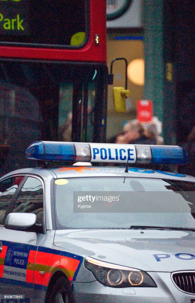 UK, Great Britain, England, London, View Of Police Car : Stock Photo