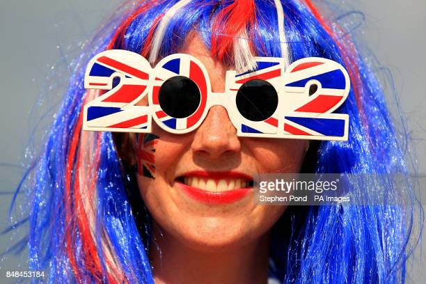 A Great Britain fan wears novelty sunglasses in the Olympic Park during day thirteen of the London 2012 Olympic Games