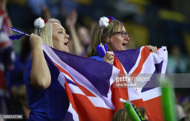 Great Britain fans cheer on Cameron Norrie of Great Britain in his match against Jurabek Karimov of Uzbekistan during day one of the Davis Cup match...