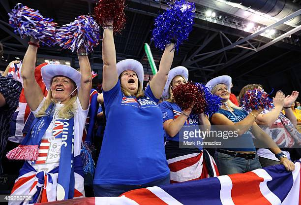 Great Britain fans cheer on the third day of the Davis Cup Semi Final 2015 between Great Britain and Australia at the Emirates Arena on September 20,...