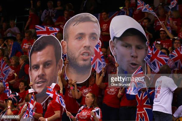 Great Britain fans cheer on their team on day one of the Davis Cup World Group QuarterFinal between France and Great Britain at Kindarena on April 7...