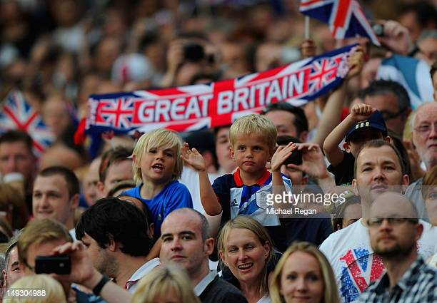 Great Britain fans during the Men's Football first round Group A Match of the London 2012 Olympic Games between Great Britain and Senegal at Old...