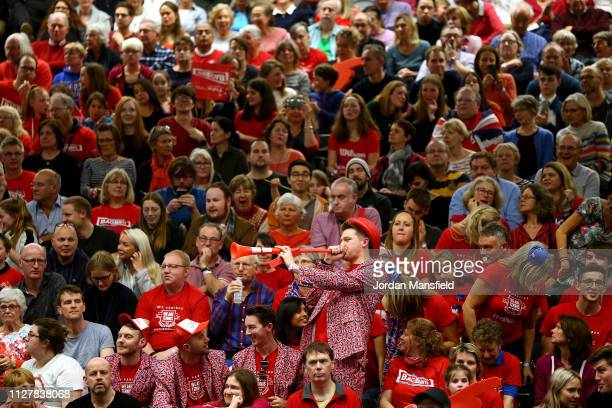 Great Britain fans enjoy the atmosphere during the roundrobin match between Johanna Konta of Great Britain and Dalila Jakupovic of Slovenia during...