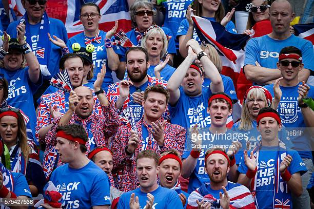 Great Britain fans give support to their team prior the Davis Cup Quarter Final match between Serbia and Great Britain on Stadium Tas Majdan on July...