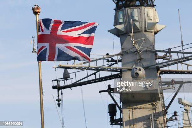 Great Britain flag on the UK Royal Navy war ship HMS Westminster is seen in Gdynia, Poland on 30 November 2018 HMS Westminster is a Type 23 frigate...