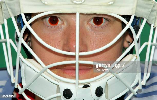 Great Britain goalminder Elizabeth Storry is shown wearing red glare reduction contact lenses during the women's field hockey team practice at the...
