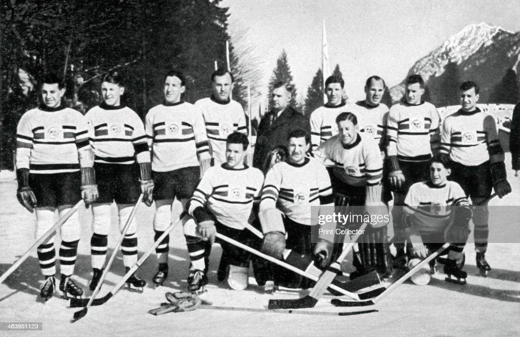 Great Britain ice hockey team, Winter Olympic Games, Garmisch-Partenkirchen, Germany, 1936. : News Photo