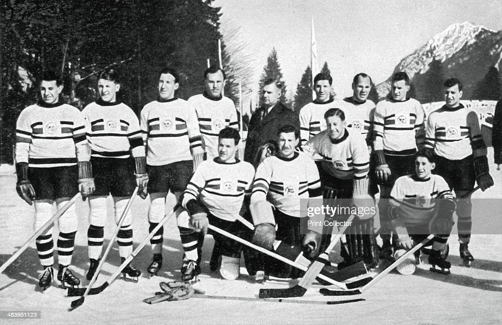 Great Britain ice hockey team, Winter Olympic Games, Garmisch-Partenkirchen, Germany, 1936. Great Britain finished ahead of Canada in the final pool to win the gold medal. A print from Olympia 1936, Die Olympischen Spiele 1936, Volume I, Cigaretten-Bilderdienst, Hamburg, 1936.