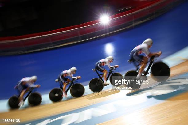 Great Britain in action during the Men's Team Pursuit Qualifying round on day one of the UCI Track Cycling World Cup at Manchester Velodrome on...