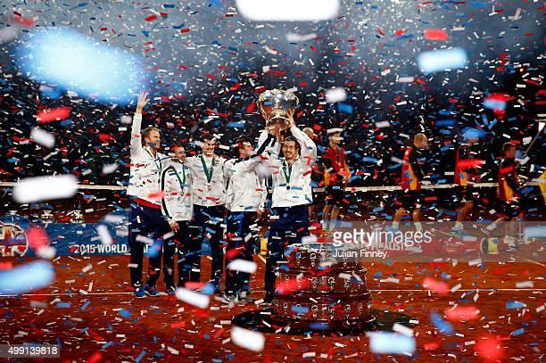 Great Britain lift the Davis Cup following victory on day three of the Davis Cup Final 2015 at Flanders Expo on November 29, 2015 in Ghent, Belgium.
