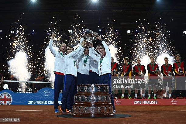 Great Britain lift the Davis Cup following victory on day three of the Davis Cup Final 2015 at Flanders Expo on November 29 2015 in Ghent Belgium