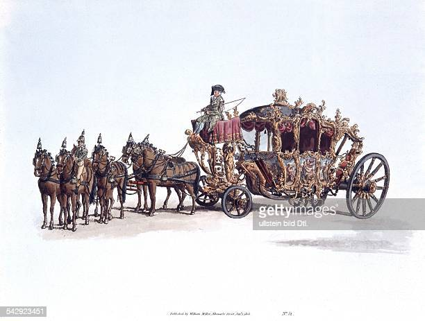 Great Britain Lithographs / engravings from the 19th century The splendorous carriage of the Lord Mayor of London drawn by six horses colored...