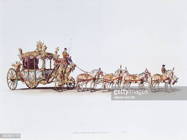 Great Britain Lithographs / engravings from the 19th century The splendorous carriage of the king drawn by eight horses colored aquatint engraving by...