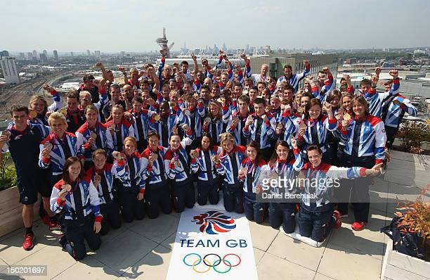 Great Britain medalists pose during a TEAM GB Press Conference during Day16 of the London 2012 Olympic Games at Team GB house on August 12, 2012 in...